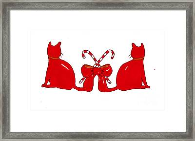 Red Xmas Ribbon Cats Framed Print