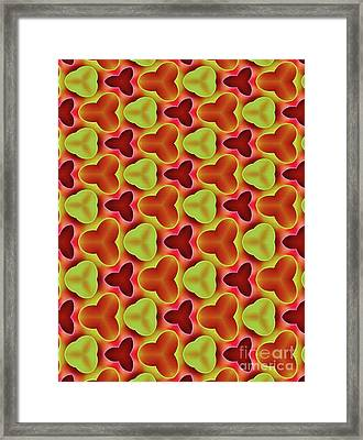 Red Yellow Shapes Pattern By Kaye Menner Framed Print
