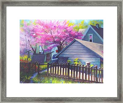 Redbud Tree In Oldtown Springtime Framed Print by Bobbi Baltzer-Jacobo