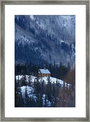 Redcloud Chapel In Blue Framed Print by David Ackerson
