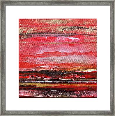 Redesdale Rhythms And  Textures Series  Red And Gold 3 Framed Print by Mike   Bell