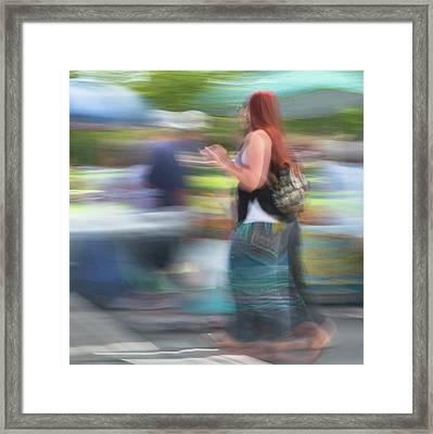 Redhead, Blue Green Skirt Framed Print