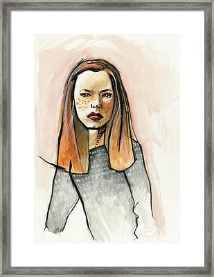 Redhead In Freckled Black Framed Print by Rob Tokarz