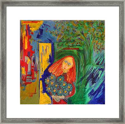 Redhead With Flowers Framed Print by Maggis Art