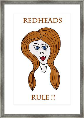 Framed Print featuring the drawing Redheads Rule by Frank Tschakert