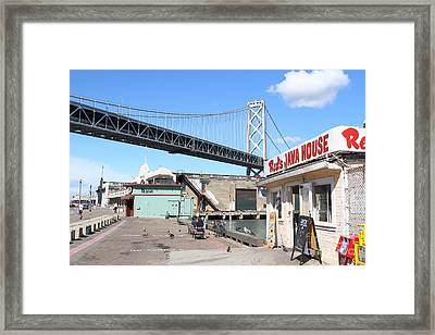 Reds Java House And The Bay Bridge At San Francisco Embarcadero . 7d7712 Framed Print by Wingsdomain Art and Photography