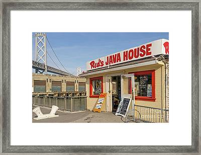 Reds Java House And The Bay Bridge At San Francisco Embarcadero Dsc5761 Framed Print
