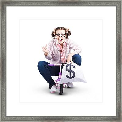 Redundant Business Girl Riding Off With Payout Framed Print by Jorgo Photography - Wall Art Gallery