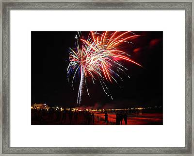 Red,white And Blue Fireworks On The Beach Framed Print by Laura Catherine
