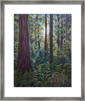 Framed Print featuring the painting Redwoods by Amelie Simmons