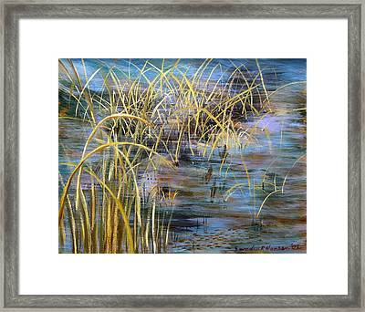 Reeds In The Water Framed Print by Art Nomad Sandra  Hansen