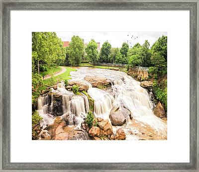 Framed Print featuring the photograph Reedy River Falls Greenville Sc by Bellesouth Studio