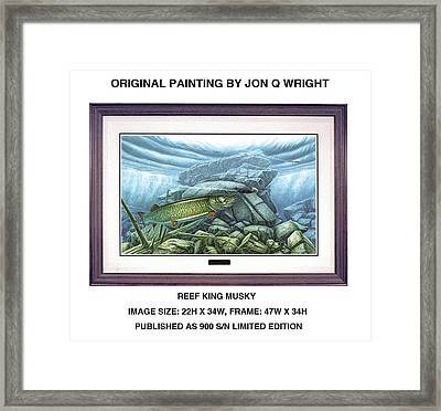 Reef King Musky Framed Print by Jon Q Wright