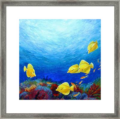 Reef With Yellow Tangs Framed Print