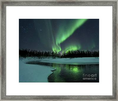 Reflected Aurora Over A Frozen Laksa Framed Print by Arild Heitmann