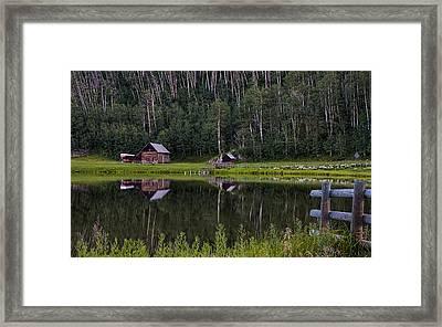 Reflected Cabin And Trees Near Durango Colorado Framed Print