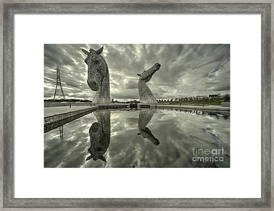 Reflected Kelpies  Framed Print by Rob Hawkins