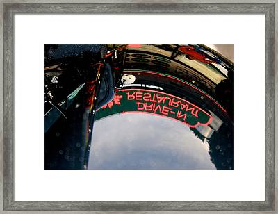 Reflected Neon Sign In Car Hood Framed Print