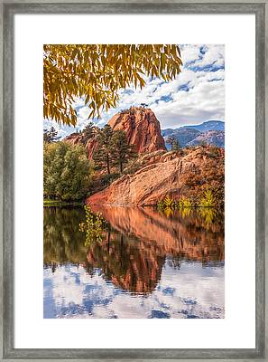 Reflecting At Red Rocks Open Space Framed Print