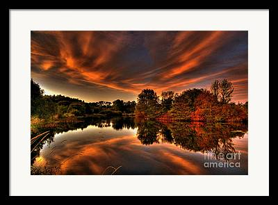Reflections Of Sun In Water Mixed Media Framed Prints