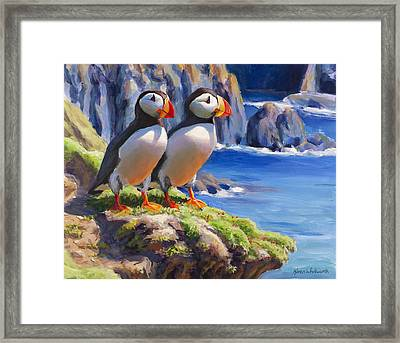 Reflecting - Horned Puffins - Coastal Alaska Landscape Framed Print