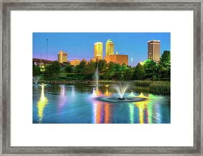 Reflecting Lights Of The Tulsa Skyline Framed Print by Gregory Ballos