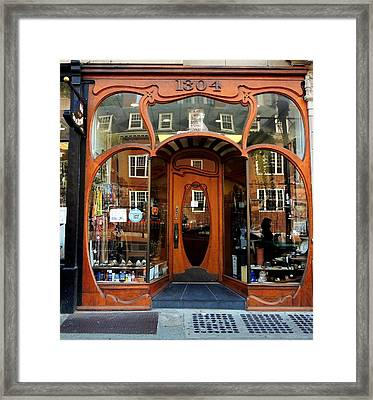 Reflecting On A Cambridge Shoe Shine Framed Print