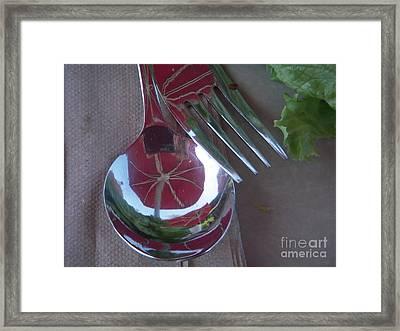 Reflecting On Lunch Framed Print by Deborah Finley