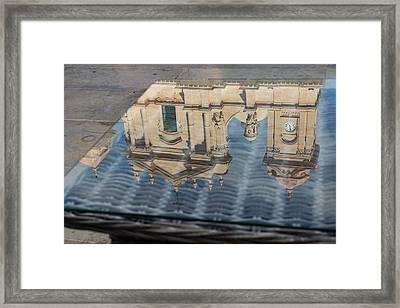 Reflecting On Noto Cathedral Saint Nicholas Of Myra - Sicily Italy Framed Print
