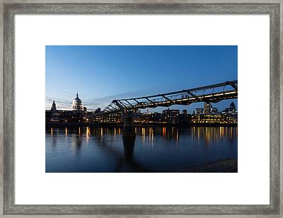 Reflecting On Skylines And Bridges - London England Uk Framed Print by Georgia Mizuleva