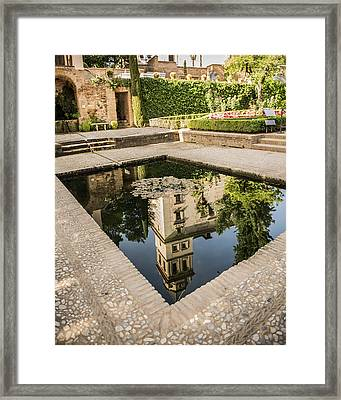 Reflecting Pool - Alhambr Palace - Granada Spain Framed Print by Jon Berghoff