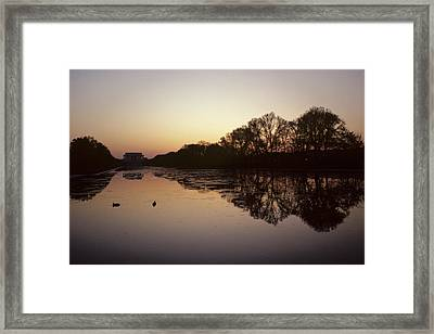 Reflecting Pool And Lincoln Memorial Framed Print by Kenneth Garrett