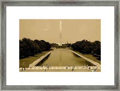 Reflecting Pool Of The Washington Monument Framed Print by Aimee Galicia Torres