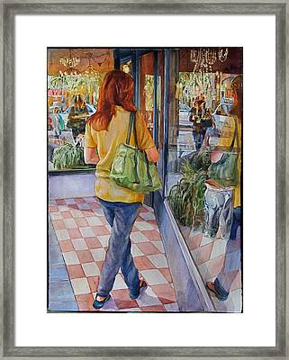 Reflecting Shopping Framed Print by Carolyn Epperly