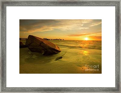 Reflecting Stone At Sunset, Long Exposure Framed Print by Felix Lai
