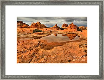 Reflecting The Buttes Framed Print by Adam Jewell