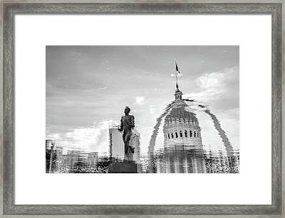 Reflecting The Lou - Black And White - St Louis Waterscape Framed Print