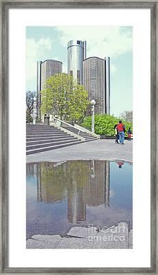 Reflecting The Ren Cen Framed Print by Ann Horn