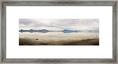 Reflection At Bonneville Salt Flats Framed Print by Mark Spomer