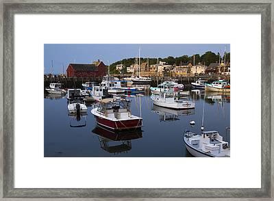 Reflection At Rockport Harbor Framed Print