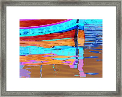 Reflection Boats Malta Framed Print by Barry Culling
