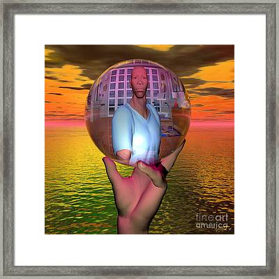 Reflection In A Sphere Framed Print