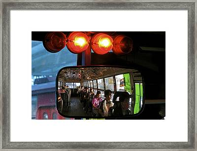 Reflection In Bus Mirror Framed Print by Joseph Thiery