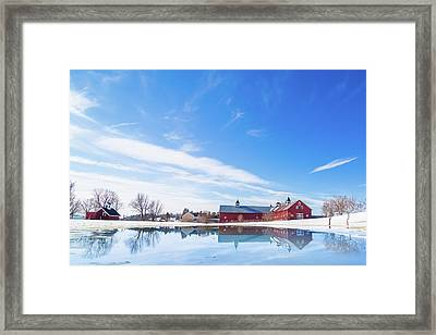 Reflection Of A Barn In Winter Framed Print