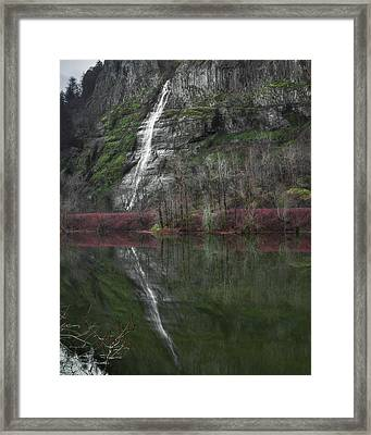 Reflection Of A Waterfall Framed Print