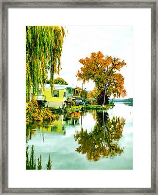 Reflection Of Country House In The Pond Framed Print by Lanjee Chee