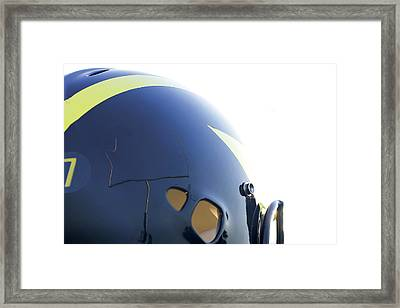 Reflection Of Goal Post In Wolverine Helmet Framed Print