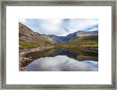 Framed Print featuring the photograph Reflection Of Macgillycuddy's Reeks And Carrauntoohil In Lough E by Semmick Photo
