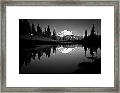 Reflection Of Mount Rainer In Calm Lake Framed Print
