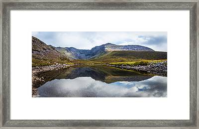 Framed Print featuring the photograph Reflection Of The Macgillycuddy's Reeks In Lough Eagher by Semmick Photo